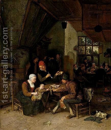 A Tavern Interior by Cornelis Dusart - Reproduction Oil Painting