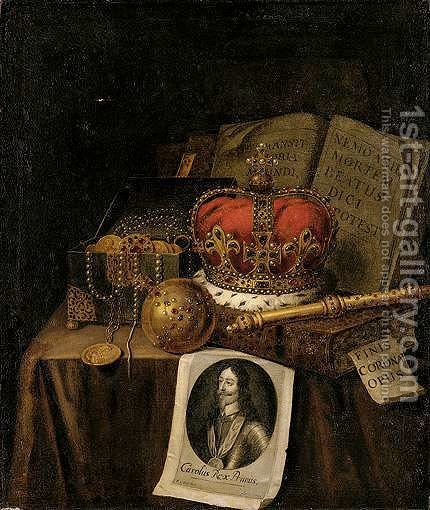 A Vanitas Still Life Of A Crown, An Orb, A Sceptre, A Casket Of Coins And Jewels, Together With Books And An Engraving Of Charles I Of England, All Arranged Upon A Draped Table-Top by Edwart Collier - Reproduction Oil Painting