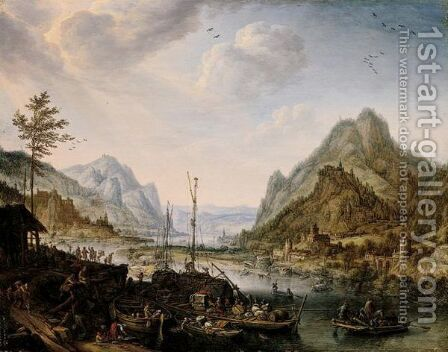 A Rhenish River Landscape Capriccio by Herman Saftleven - Reproduction Oil Painting