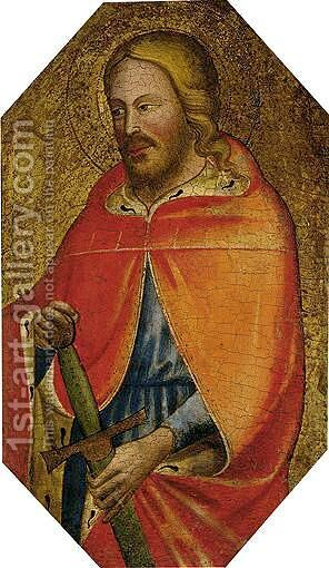 A Young Male Saint, Probably Saint Julian The Hospitator, Three-Quarter Length, In An Ermine-Lined Cloak And Holding A Sword by Italian Unknown Master - Reproduction Oil Painting