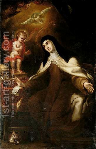 The Christ Child Appearing To Saint Teresa Of Avila by (after) Sebastian Lanos Valdes - Reproduction Oil Painting