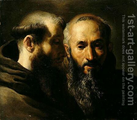 Two Head Studies Of Franciscan Saints by (after) Domenico Fetti - Reproduction Oil Painting