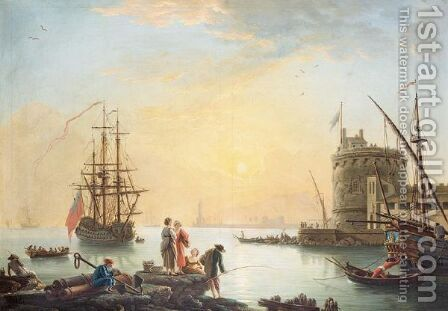 A View Of A Mediterrean Harbour by (after)  Claude-Joseph Vernet - Reproduction Oil Painting