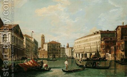 Venice, A View Of The Grand Canal Looking North From The Palazzo Rezzonico Towards The Palazzo Balbi by (after) (Giovanni Antonio Canal) Canaletto - Reproduction Oil Painting
