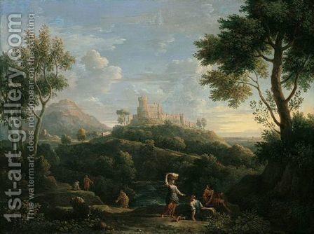 A Southern Landscape With Figures In The Foreground And A Hill-Top Town Beyond by Jan Frans van Orizzonte (see Bloemen) - Reproduction Oil Painting