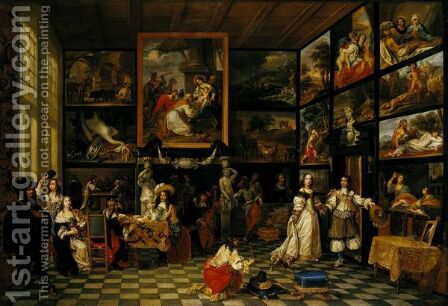 The Interior Of A Picture Gallery by Antwerp School - Reproduction Oil Painting