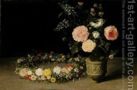 A Still Life Of Roses And Sprays Of Lilac In An Ornamental Stoneware Vase, With A Wreath Of Roses, Forget-Me-Nots, Jasmine, Cyclamen And Other Flowers Resting Nearby, All On A Table-Top by Jan The Elder Brueghel - Reproduction Oil Painting