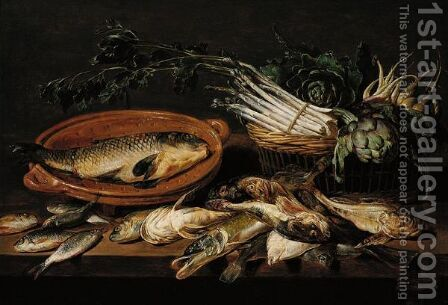 A Still Life Of Artichokes, Asparagus, Radishes, And Turnips In A Wicker Basket, With A Carp In A Terracotta Dish, Together With Salt- And Fresh-Water Fish, All Arranged Upon A Table-Top by Adriaen van Utrecht - Reproduction Oil Painting