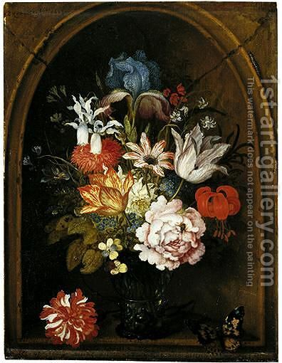 A Still Life Of Tulips, A Rose, An Iris, A Fuchsia, Forget-Me-Nots And Other Flowers In A Berkemeijer Glass, Set In A Niche And Flanked With A Carnation And A Butterfly by Balthasar Van Der Ast - Reproduction Oil Painting