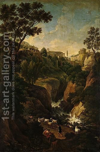 A Capriccio Of Tivoli, With Peasants And Animals By The Falls by Jan Frans van Orizzonte (see Bloemen) - Reproduction Oil Painting