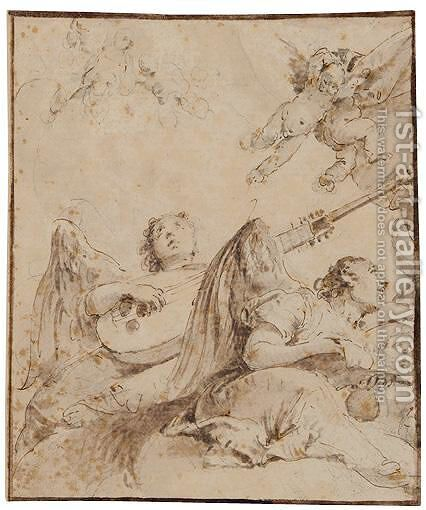 Angels Among Clouds Making Music by (after) Giovanni Battista Tiepolo - Reproduction Oil Painting