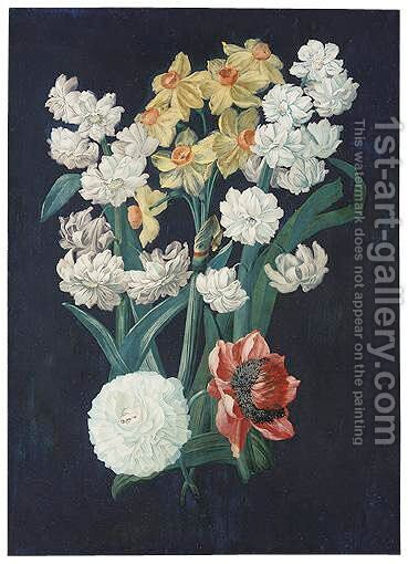 A Bunch Of Flowers, Including White And Yellow Narcissi by (after) Prevost - Reproduction Oil Painting