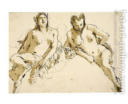 Design For A Lunette Two Female Satyrs by Giovanni Battista Tiepolo - Reproduction Oil Painting