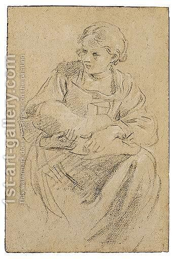 A Seated Woman Holding A Bundle by Domenichino (Domenico Zampieri) - Reproduction Oil Painting