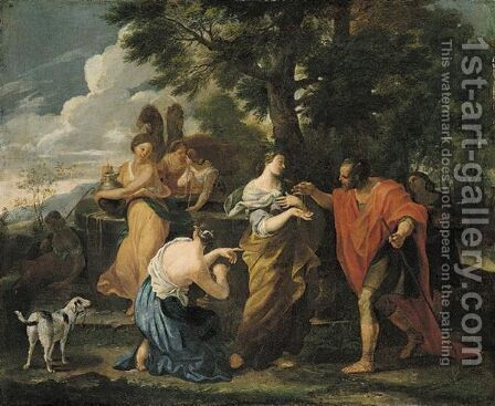 Rebecca And Eliezer At The Well by (after) Giovanni Francesco Romanelli - Reproduction Oil Painting