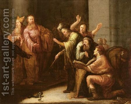 Moses Throws Aaron's Rod Before Pharaoh by (after) Leonaert Bramer - Reproduction Oil Painting