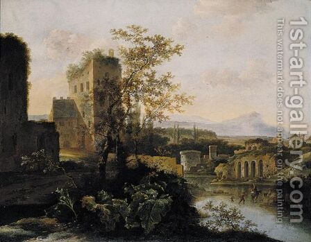 An Extensive Lanscape With Classical Ruins Beside A River by Jan Gabrielsz. Sonje - Reproduction Oil Painting
