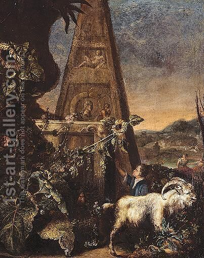 Pastoral Landscape With A Goat And A Child In The Foreground With A Pyramid by (after) Arnold Houbraken - Reproduction Oil Painting