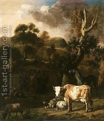 A Pastoral Scene In An Italianate Landscape by Dirk van Bergen - Reproduction Oil Painting