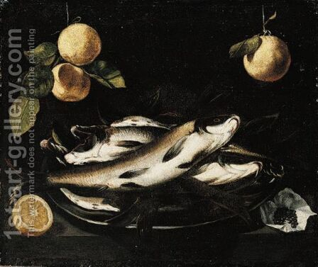 Still Life Of Fish On A Pewter Plate, Together With Peppercorns And A Sliced Lemon, All Arranged Upon A Stone Ledge, With Oranges Hanging Above by (after) Alejandro De Loarte - Reproduction Oil Painting