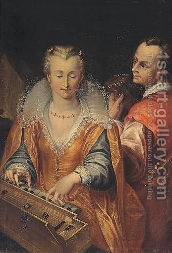 The Sense Of Hearing - Interior With A Woman And Man Playing Music by (after) Hendrick Goltzius - Reproduction Oil Painting