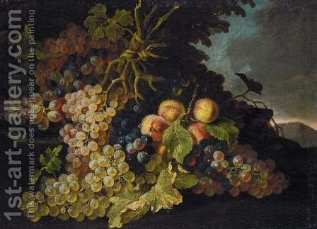Still Life Of Grapes And Peaches In A Landscape by (after) Pietro Navarra - Reproduction Oil Painting