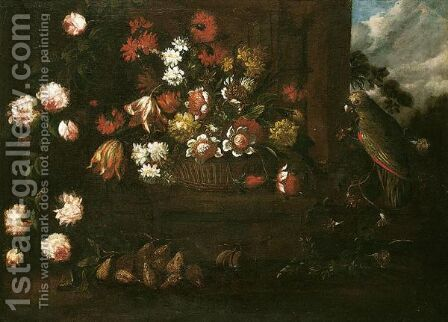 Still Life Of A Wicker Basket Of Flowers, Pears, Figs And A Green Parrot In A Classical Garden by (after) Elisabetta Marchioni - Reproduction Oil Painting