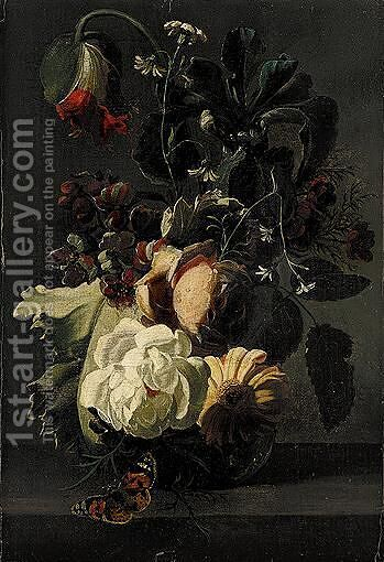 Still Life Of Roses And Other Flowers In A Glass Vase, Together With A Butterfly, Upon A Stone Ledge by (after) Simon Pietersz. Verelst - Reproduction Oil Painting