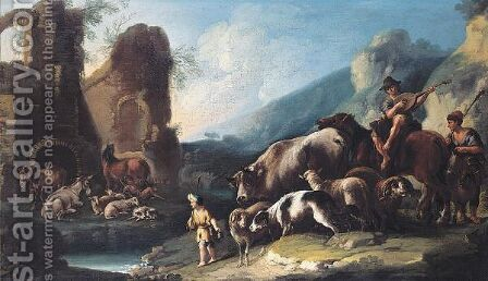 An Italianate Landscape With Herders And Their Animals by Domenico Brandi - Reproduction Oil Painting