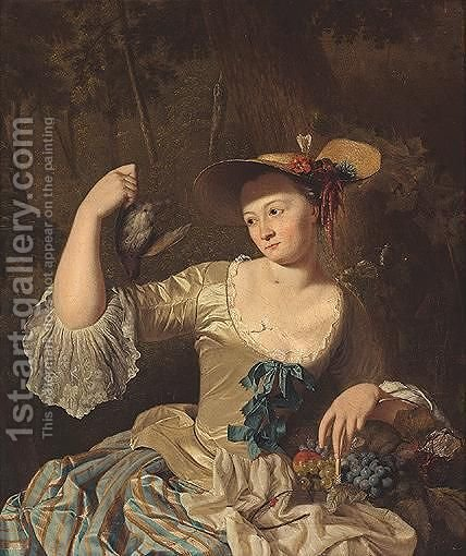 Portrait Of A Lady, Half Legnth, Wearing A Yellow Silk Dress And Holding A Bird And A Basket Of Fruit by Dutch School - Reproduction Oil Painting