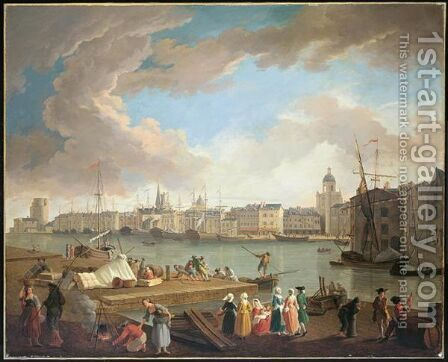 View Of The Port Of La Rochelle, From La Petite Rive by (after)  Claude-Joseph Vernet - Reproduction Oil Painting