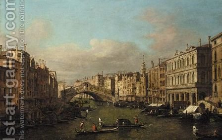 Venice, A View Of The Rialto Bridge From The South by (after)  (Giovanni Antonio Canal) Canaletto - Reproduction Oil Painting