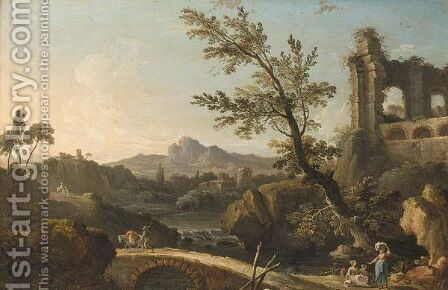 An Italianate River Landscape With Ruins, Travellers And Washerwomen by (after) Nicolas-Jacques Julliard - Reproduction Oil Painting