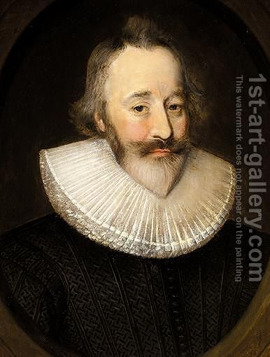 Portrait Of Sir Henry Spiller Of Laleham by (after) Johnson, Cornelius I - Reproduction Oil Painting