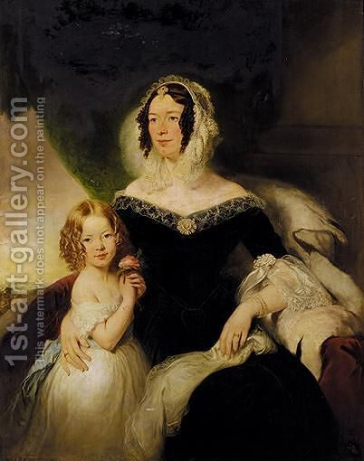 Portrait Of Mrs Hilton Nee Aynsworth With Her Daughter, Lydia Ellen by (after) Margaret Sarah Carpenter - Reproduction Oil Painting