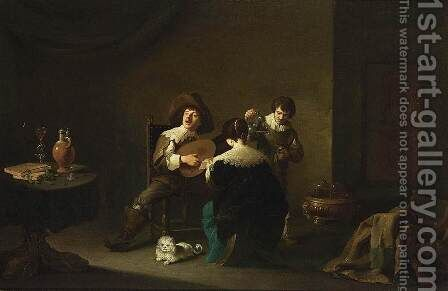 Interior with a Gentleman Playing a Lute and a Lady Singing 1640-42 by David The Younger Teniers - Reproduction Oil Painting