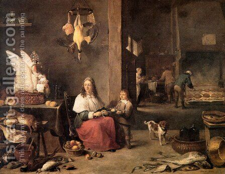 Kitchen Scene 1644 by David The Younger Teniers - Reproduction Oil Painting