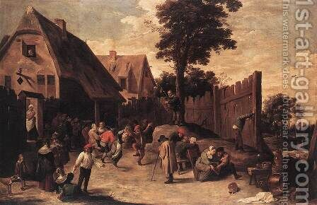 Peasants Dancing outside an Inn 1645-50 by David The Younger Teniers - Reproduction Oil Painting