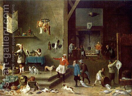 The Kitchen by David The Younger Teniers - Reproduction Oil Painting