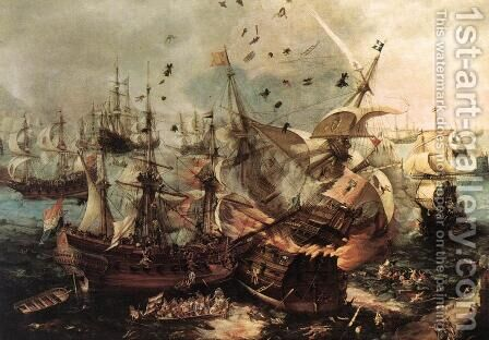 Battle Of Gibraltar by Hendrick Cornelisz. Vroom - Reproduction Oil Painting
