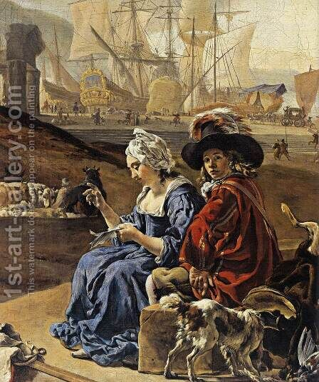 An Italian Seaport (detail) 1666 by Jan Weenix - Reproduction Oil Painting