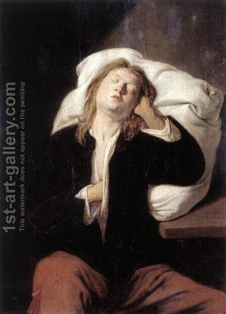 Man Sleeping c. 1649 by David The Younger Ryckaert - Reproduction Oil Painting