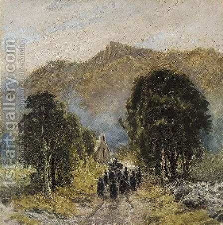 A Funeral At Bettwys-Y-Coed Church, North Wales by David Cox - Reproduction Oil Painting