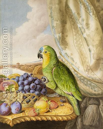 A Parrot Eating From A Bowl Of Grapes, Plums, Peaches And Strawberries, A River Landscape Beyond by Augusta Innes Withers - Reproduction Oil Painting