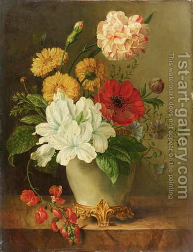 Vase De Fleurs by Ecole Francaise, Xixeme Siecle - Reproduction Oil Painting