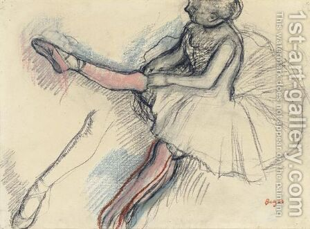 Danseuse Rajustant Son Collant by Edgar Degas - Reproduction Oil Painting