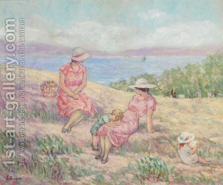 Femme Et Enfants Sur La Cote Mediterraneene by Henri Lebasque - Reproduction Oil Painting