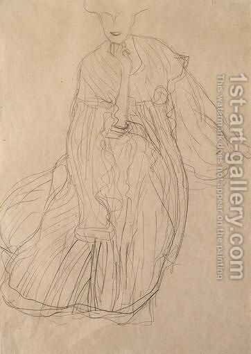 Study For The Portrait Of Adele Bloch-Bauer Seated, From The Front, Her Right Hand Supporting Her Chin by Gustav Klimt - Reproduction Oil Painting