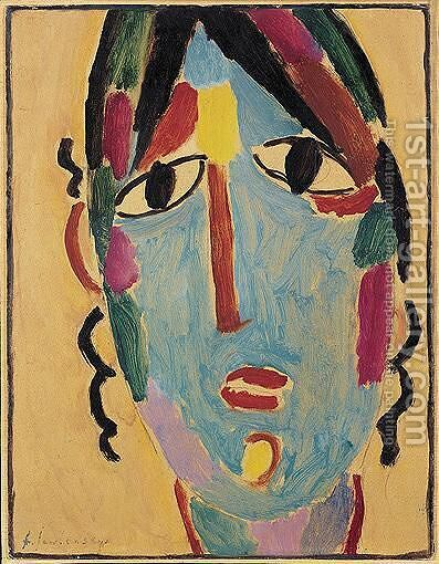 Mystischer Kopf Andenmadchen (Mystical Head Andean Girl) by Alexei Jawlensky - Reproduction Oil Painting