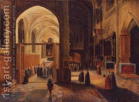 Interior Of A Gothic Cathedral With A Mass Being Celebrated In A Side Chapel by Hendrick Van Steenwijk II - Reproduction Oil Painting